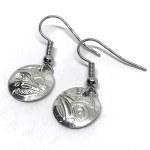 Sterling Silver Round Hummingbird Drop Earrings