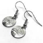 Sterling Silver Round Orca Drop Earrings
