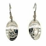 Sterling Silver Oval Eagle Drop Earrings