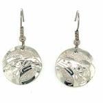 Sterling Silver Round Raven Drop Earrings