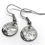 Sterling Silver Round Wolf Drop Earrings