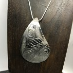 Sterling Silver Teardrop - Orca with Raven - XL