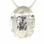 Sterling Silver Oval Wolf Pendant