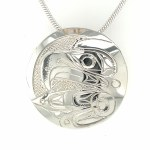 Sterling Silver Round Eagle Pendant