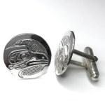 Sterling Silver Cufflinks Round - Raven
