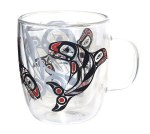 Double Walled Glass Mug - Raven Fin Orca