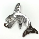 Sterling Silver & Gold Orca Pendant
