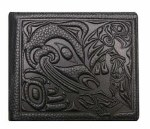 Leather Bi-fold Wallet - Bear with Eagle & Salmon