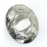 Sterling Silver Oval Raven Pendant