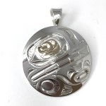 Sterling Silver & Gold Round Orca Pendant