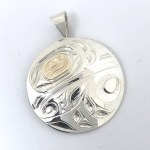 Sterling Silver & Gold Round Raven Pendant