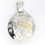 Sterling Silver & Gold Round Bear & Salmon Pendant