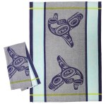 Whale Blue Tea Towel
