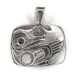 Sterling Silver Rectangle Hummingbird Pendant