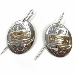 Sterling Silver & Gold Oval Orca Earrings