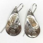 Sterling Silver & Gold Teardrop Raven Earrings