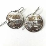 Sterling Silver & Gold Circle Bear Earrings