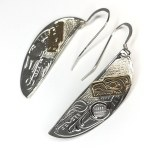Sterling Silver & Gold Fan Bear Earrings