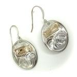 Sterling Silver & Gold Oval Bear Earrings