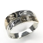 Sterling Silver & Gold Wrap RIng - Eagle Raven