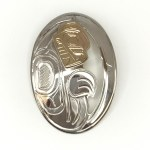 Sterling Silver & Gold Bear Oval Pendant