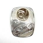 Sterling Silver & Gold Rectangle Bear Pendant