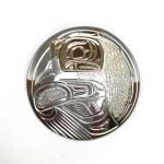 Sterling Silver & Gold Circle Raven Pendant
