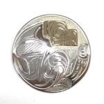 Sterling Silver & Gold Circle Bear & Salmon Pendant