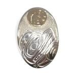 Sterling Silver & Gold Oval Bear & Salmon Pendant