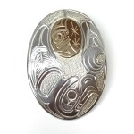 Sterling Silver & Gold Oval Eagle & M oon Pendant