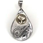 Sterling Silver & Gold Teardrop Hummingbird Pendant