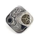 Sterling Silver & Gold Rectangle Raven Pendant