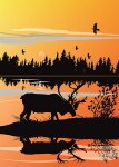Caribou Sunset Card