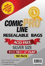 SUPPLIES COMIC PRO LINE SILVERAGE SIZE RESEALABLE BAGS