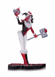 HARLEY QUINN RED BLACK & WHITE HOLIDAY STATUE