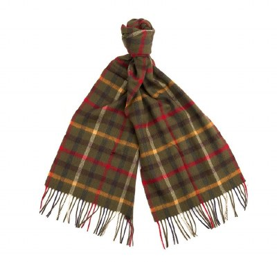 Barbour Bolt Tattersall Scarf Olive