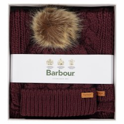 Barbour Penshaw Cable Knit Beanie and Scarf Set
