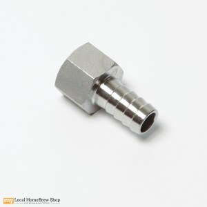 "Stainless Hose Adapter - 1/2"" FPT x 1/2"" Barb"