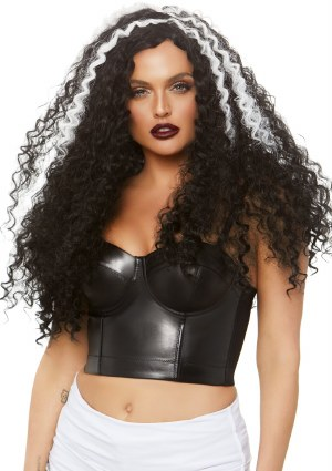 Curly Black and White Wig