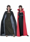 Long Cape with Collar - Red