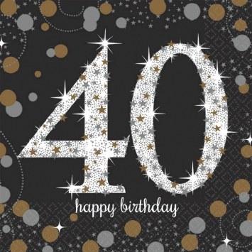 40th Sparkling Bev Napkins