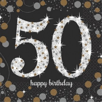 50th Sparkling Bev Napkins