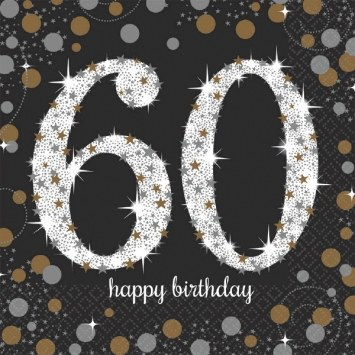 60th Sparkling Lunch Napkins