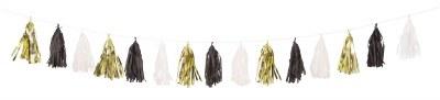 Tissue Tassels Gold/wht/black