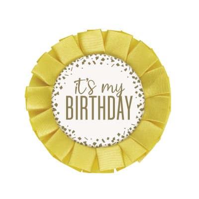 Its My Birthday Badge Gold