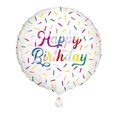 Birthday White Foil Balloon