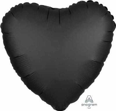 Heart Foil 18in Black Luxe