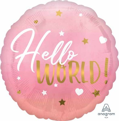 Hello World Pinks 18in Foil