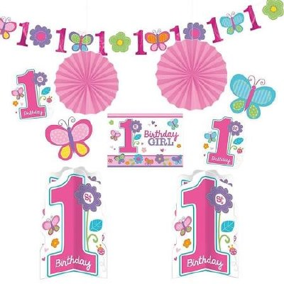 1st Birthday Girl Decor Kit