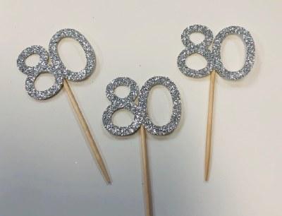 80 Glitter Cupcake Topper-12ct